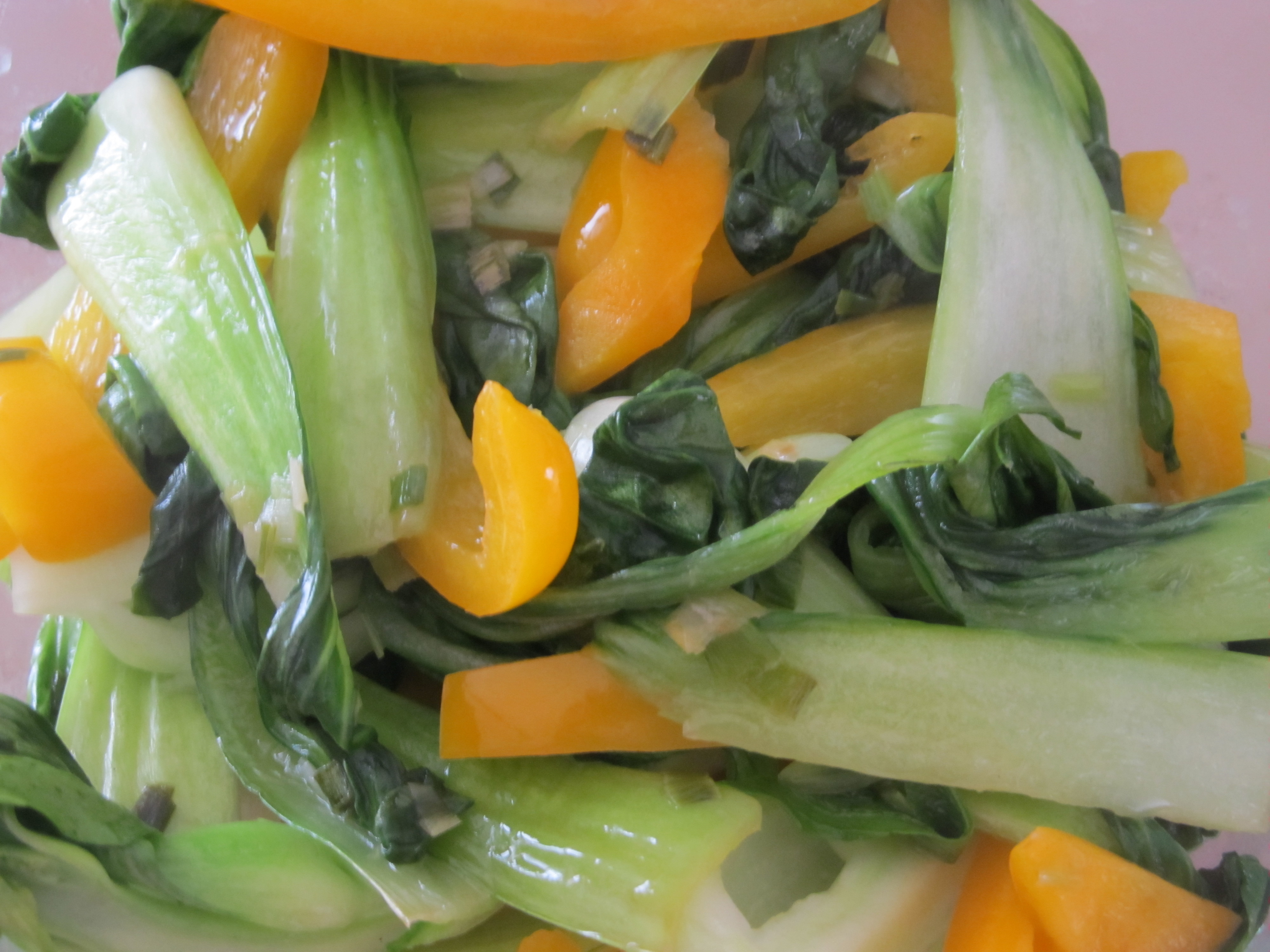 Baby Bok Choy With Yellow Bell Peppers Recipe — Dishmaps